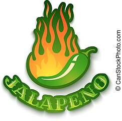 jalapeno pepper in fire - Vector illustration of a hot...