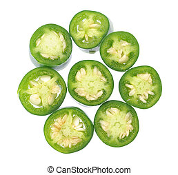 Jalapeno Peppers - sliced Jalapeno Peppers isolated on White...