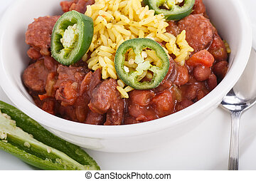 Jalapeno Slices on Red Beans and Rice