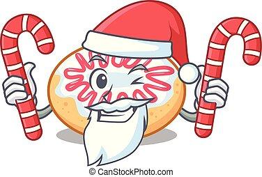jalea, dulce, rosquilla, santa, caricatura, mascota