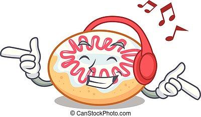 jalea, rosquilla, la música escuchar, caricatura, mascota