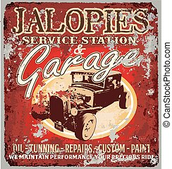 jalopy garage - vintage classic car vector for T-shirt...