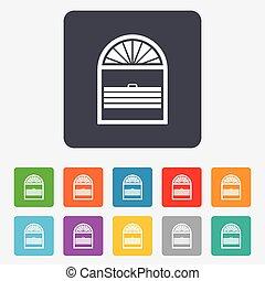 jalousie, louvers, ventana, icon., señal, persianas, plisse