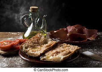 jamón, amb, tomaquet, serrano, catalán, papá