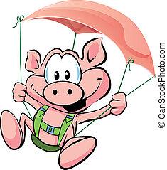 jamón, vuelo, cerdo