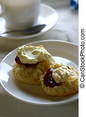 Jam and Cream Scones - tea and scones - devonshire tea