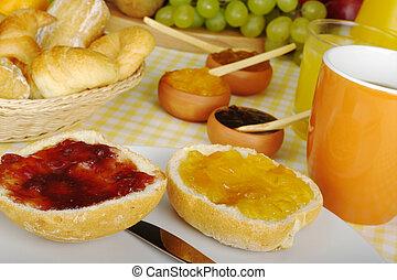 Jam breakfast with orange juice, coffee and fruits
