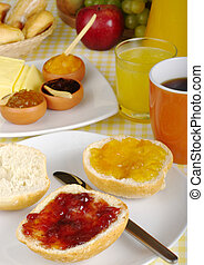 Jam breakfast with orange juice, coffee and fruits