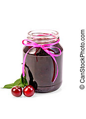 Jam cherry in a glass jar