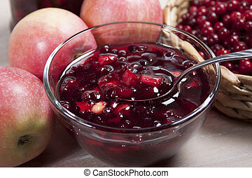 Jam cranberries  with apples