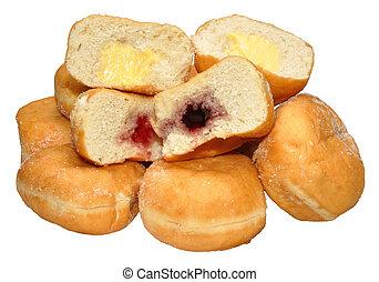 jam, en, vla, gevulde, doughnuts