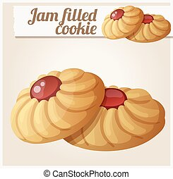 Jam filled cookie. Detailed vector icon