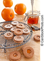Jam-filled cookies - Cookies filled with orange jam for...
