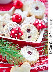 jam-filled, de koekjes van kerstmis