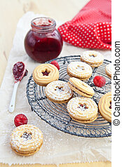 jam-filled, koekjes, en, frambozen