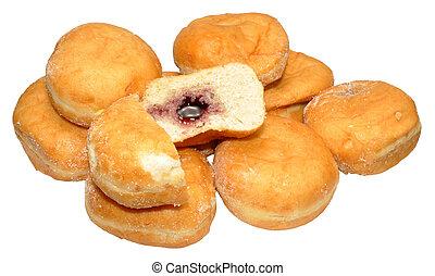 jam, gevulde, doughnuts