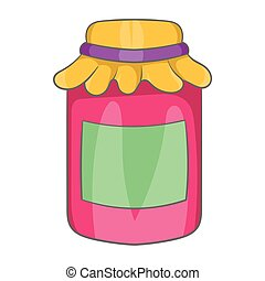 Jam in a glass jar icon, cartoon style