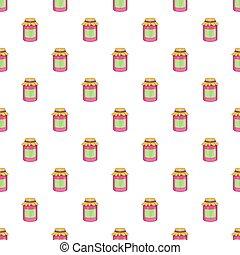 Jam in a glass jar pattern, cartoon style