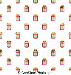 Jam in a glass jar pattern, cartoon style