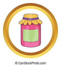 Jam in a glass jar vector icon