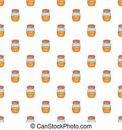 Jam in glass jar pattern, cartoon style