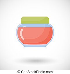 Jam in jar vector flat icon, Flat design of sweet food,...