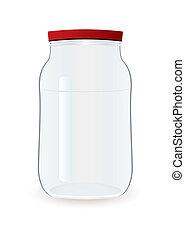 Jam jar empty - Glass clear empty jam jar with red lid