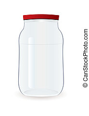 Glass clear empty jam jar with red lid