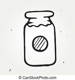 Jam-jar hand drawn isolated, vector doodle object