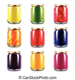 Jam jars icons vector set - Jam jars icons detailed photo...