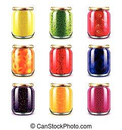 Jam jars icons vector set