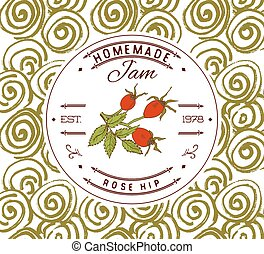 Jam label design template Rose hip