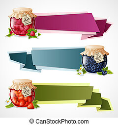 Natural organic berry dessert jam in glass jar horizontal origami paper banners set isolated vector illustration