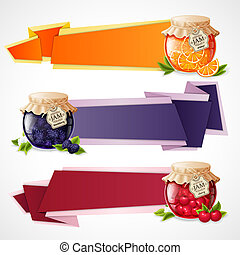 Jam origami banners set - Natural organic fruit and berry...