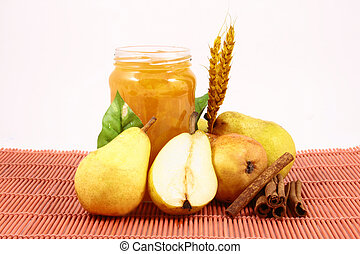 jam pear - Pears on a white background-jam peach