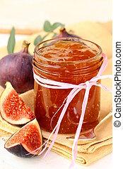 jam ripe purple figs with fresh fruit