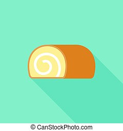 jam roll icon, flat design vector with long shadow