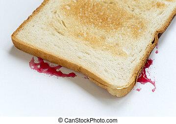 jam sandwich fallen - sandwich fallen upside down with jam...