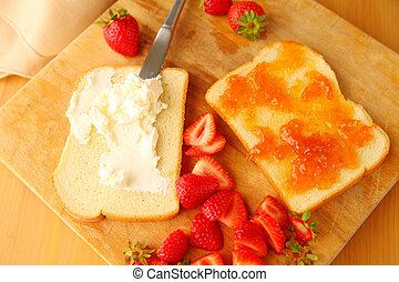 Jam sandwich with cream cheese and fresh berries