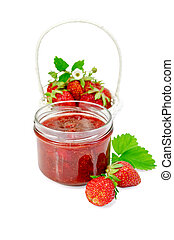 Jam strawberry with basket of berry