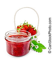 Jam strawberry with strawberries in a basket