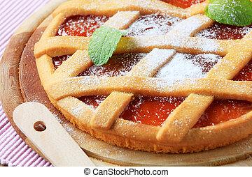 Jam tart with a lattice top crust