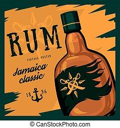 jamaïque, barres, poster., classique, beverage., vieux, alcool, épées, vendange, regarder, thème, retro, publicité, être, utilisé, rhum, rhum, verre, compas, restaurant, ancre, boîte, bouteille, ou