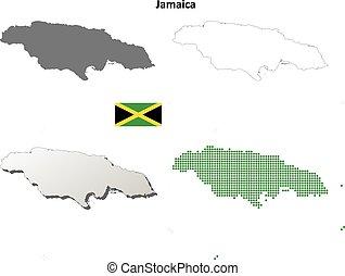 jamaïque, ensemble, contour, carte