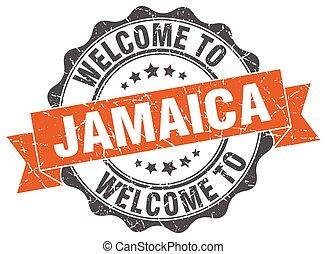 jamaïque, rond, ruban, cachet