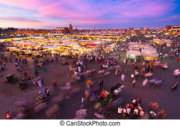 Jamaa el Fna (also Jemaa el-Fnaa, Djema el-Fna or Djemaa el-Fnaa) is a square and market place in Marrakesh's medina quarter (old city). Marrakesh, Morocco, north Africa. UNESCO Masterpiece of the Oral and Intangible Heritage of Humanity.
