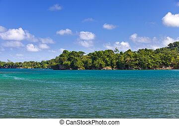 jamaica., a, blaues, lagoon.