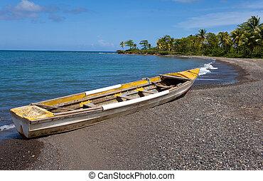 jamaica., a, national, boot, auf, kueste, von, a, bucht