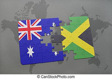 jamaica, austrálie, mapa, hádanka, grafické pozadí., prapor, společnost, národnostní