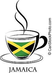 jamaica, café, feito, bandeira, logotipo
